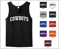Cowboys College Letter Sports Adult Tank Top Jersey T-shirt
