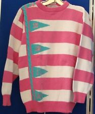IZOD CLUB Embroidered GOLF SWEATER Pink stripe Sz M 100% COTTON