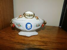Antique Sugar Bowl Cameo Lady Clasped Hands Unusual Marked 1756 18