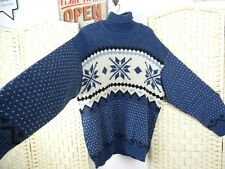 Norwegian style wool blend blue roll neck  unisex jumper  size XL  PB254