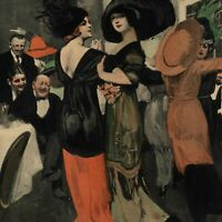 Women dancing together fancy gowns hats nightclub c.1911 Art Nouveau color print