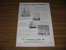 1958 Print Ad Stokvis & Sons Sail Boats  New York,NY