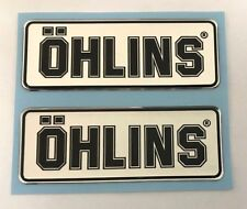 OHLINS stickers - decals - 2 x Black on Chrome - High Gloss Gel Finish - 79mm