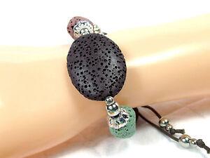 Bracelet Volcanic Rock Lava Surfer Beads Braided Cord Wristband Adjustable