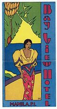 BAYVIEW HOTEL Manila P.I. Philippines WOMAN Vintage 1920's 1930's LUGGAGE LABEL