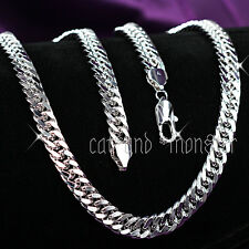 Mens 18k White Gold Filled Silver 10mm Cuban Curb Ring Chain Long Necklace 60cm