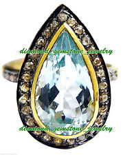 & Blue Topaz Victorian Style Ring 925 Sterling Silver Rose Cut Natural Diamond