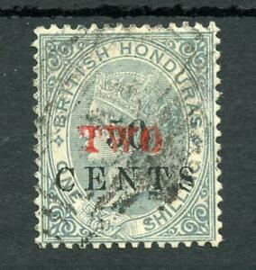 "British Honduras 1888 ""TWO"" on 50c on 1s grey SG35 used cat £110"