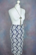 MARKS & SPENCER M&S Navy & White formal lace midi pencil skirt 12