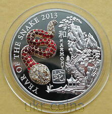 2013 Rwanda 3D Lunar Year of the Snake Gemstone 蛇 Silver Proof Coin Chinese