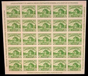 U.S. Stamp Scott #730 Souvenir Sheet of 25 1 Cent Fort Dearborn MNH No Gum