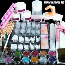 Pro Acrylic Nail Art Tool Kit Set Powder Nail Sticker DIY Set Pump Nail Brush