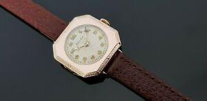 Rolex Vintage 1930's Hand Wound Ladies 9ct Gold Watch on Leather Watch Strap.