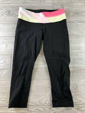 *LULULEMON women's size 6 mid rise leggings yoga black pink cropped capris