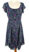 Monsoon Size 10 Navy Blue Purple Floral Short Sleeve Frilled Flippy Dress Summer