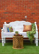 Reclaimed Timber Vintage White Rustic Seat Handcarved Timber Indian Day Bed