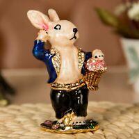 Rabbit Bunny Miniature Metal Enamel Jeweled Crystals Hinged Trinket Jewelry Box