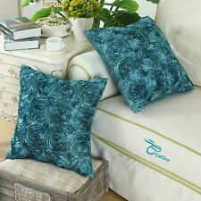 "2Pcs Teal Cushion Covers Cases Shells for Couch Sofa Home Roses Floral 20""X20"""
