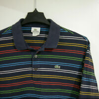 LACOSTE Men's Size 7 Rainbow Stripes Short Sleeve Polo Shirt Navy 100% Cotton