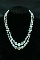 2-Strand Aurora Borealis Necklace Faceted Glass Fishhook Clasp Vintage 1950s