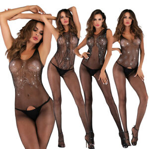 Sexy Lingerie for Women Sex Sequined Starry One-piece Crotchless Net Stockings