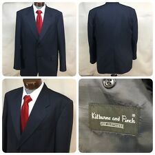 Kilburne and Finch Blazer Sport Coat 43 R Blue Polyester Wool Blend 2 Button