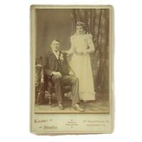 Antique Cabinet Card Photograph Wedding Groom & Bride Freeport, Illinois Photo