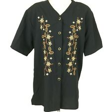 BONWORTH Womens Sz L Black SS Button Front Embroidered Blouse