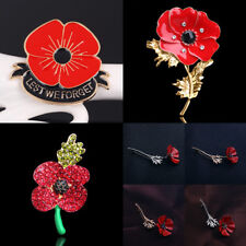 Anniversary Brooch Red Poppy Enamel Lapel Pin Broach Banquet Suit Scarf Shawl