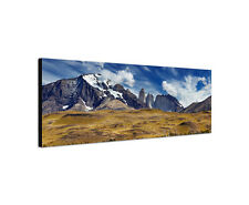 120x40cm Guanako Panorama Torres del Paine Lama Lasttier Berg Leinwand Sinus Art