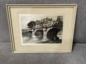 Vtg Possibly Antique T. Roux French Signed Etching on Silk Paris Le Ponte Neuf