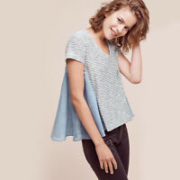 New Anthropologie Striped Flare Short Sleeve Tee Tshirt Linen Cotton Top Sz M