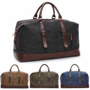 Vintage Men's Canvas Leather Travel Duffle Bag Shoulder Weekend Luggage Gym Tote