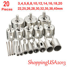 20 Pcs 3-40mm Diamond Drill Bits Set Hole Saw Cutter Tool Glass Marble Granite@@