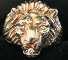 14K Yellow Gold Diamond Lion head BaumF Baumstein Feder Vintage Mens Ring