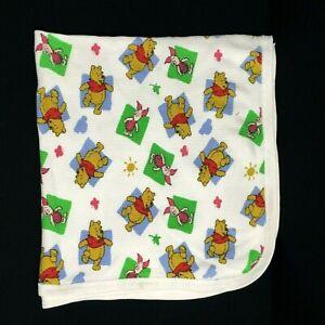 Vintage Disney Winnie The Pooh Baby Receiving Blanket Waffle Knit Thermal Piglet