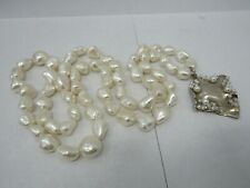 Large Freshwater Baroque Pearl Necklace With Sterling Silver Brutalist Pendant