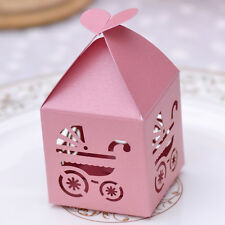 10 pcs Laser Cut Pink Baby Carriage Party Candy/Favor Box