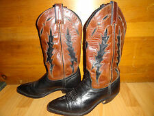 VTG Code West  LEATHER BROWN/BLACK WESTERN COWBOY BOOTS SZ 6, 5 M made in USA
