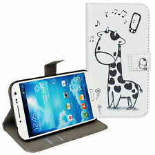 Black/White Giraffe Design Leather Wallet Card Case Cover for Samsung Galaxy S4
