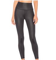 Alo Airbrush 7/8 High Waist Glossy Black Leggings Women's Size S 61116