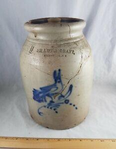 Stoneware 1-1/2 gal. crock Brady & Craft Ellenville, N.Y. bird damaged repaired