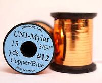 """Mylar Tinsel UNI 3/64"""" = 1,2mm #12 zweifarbig COPPER/BLUE"""