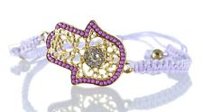 XL Hamsa hand fatima Bracelets with beads Purple STRING Evil Eye Lucky