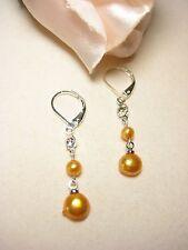 Ohrring echte Süßwasserperlen Perlen schmuck Barock gelb