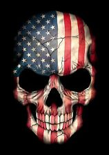 REFLECTIVE SKULL AMERICAN FLAG DECAL 3M STICKER USA TRUCK HELMET VEHICLE WINDOW