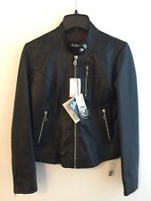 NWT SCHOTT NYC USA LAMB LEATHER CAFE RACER BIKER JACKET BLACK WOMEN SMALL MEN XS