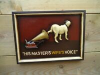 Gramophone & Dog Wooden Picture ( His Masters Wifes Voice ) plaque 3 D Sign Bar