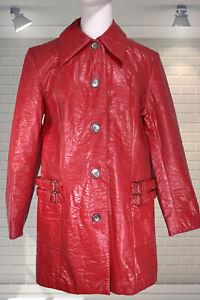 Ladies Vintage 1960s Red Shiny PVC Rain Coat Rainmac Waterproof Coat - Size 14
