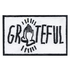 Praying Hands Grateful Iron On Embroidered Applique Patch